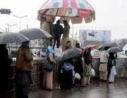 راولپنڈی: بارش کے دوران ٹرانسپورٹ کی کمی کے باعث شہری چھتری تانے سٹاپ ..