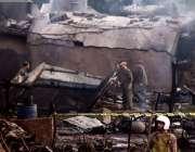 راولپنڈی: موہڑہ کالو میں زیر تربیت طیارہ گرنے کے بعد امدادی کاروائیاں ..