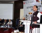 گلگت: وزیر اعلیٰ گلگت بلتستان حافظ حفیظ الرحمن ایک تقریب سے خطاب کر ..