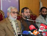 اسلام آباد: حریت رہنما فاروق رحمانی اور عبداللہ گیلانی مشترکہ پریس ..