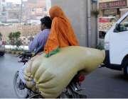 راولپنڈی: مری روڈ کی بے ہنگم روڈ سے شہری نے موٹر سائیکل پر بھاری سامان ..