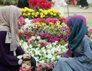 کراچی: ڈی ایچ اے کے زیر اہتمام سالانہ فلاور شو میں خواتین کی دلچسپی۔