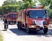 اسلام آباد: فائر فائٹرز کے عالمی دن کی مناسبت سے فائر فائٹر گاڑیاں گشت ..