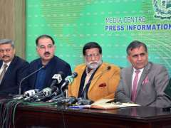 ISLAMABAD: Federal Minister for Privatization and Aviation Muhammad Mian Soomro addressing press conference.