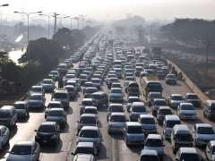 ISLAMABAD: A view of heavy traffic jam on Express Way at morning time near Faizabad Security Check Post.