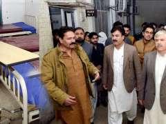 Chief Minister Khyber Pakhtunkhwa Mahmood Khan inspecting hygiene conditions during surprise visit at Sifwat Ghayur Children Hosptial Haji Camp Peshawar.
