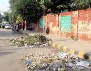 لاہور: گورنمنٹ فاطمہ گرلز ہائی سکول فین روڈ کے گیٹ کے باہر گندگی کے ..