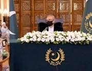 اسلام آباد، صدر عارف علوی کووڈ 19 پر علماء کے اجلاس کی صدارت کر رہے ہیں۔