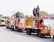راولپنڈی: فائر فائٹرز کے عالمی دن کے موقع پر ریسکیو 1122 راولپنڈی کے فلیگ ..