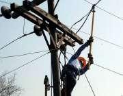 بہاولپور: واپڈا کا عملہ برقی تاروں کی خرابی دور کررہا ہے۔