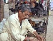 کراچی: مقامی مارکیٹ میں دیسی انڈے اور مرغیاں بیچنے والا دکاندار بیٹھا ..