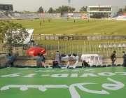 راولپنڈی، نیشنل ٹی ٹونٹی ٹورنامنٹ کے موقع پر خالی سٹینڈز کا ایک مںظر۔
