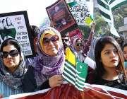 کراچی: پریس کلب کے باہر یوم یکجہتی کشمیر کے موقع پر مختلف شعبہ ہائے ..