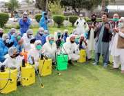 پشاور، فوکل پرسن انچارج مدثر نذر کورونا وائرس سپرے کش ٹیم اثاث علاقوں ..
