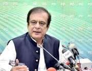 اسلام آباد: سینیٹر شبلی فراز ، وفاقی وزیر اطلاعات و نشریات پریس کانفرنس ..