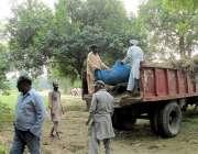 لاہور: پی ایچ اے کے ملازم جیلانی پارک سے کچرا اٹھارہے ہیں۔