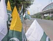 راولپنڈی : مری روڈ کنارے دکاندار نے 14 اگست کی مناسبت سے قومی پرچم سجارکھے ..