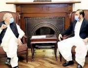 لاہور، گورنر پنجاب چوہدری محمد سرور سے سپیکر بلوچستان اسمبلی عبدالقدوس ..
