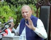 لاہور، گورنر پنجاب چوہدری محمد سرور گورنر ہائوس میں پریس کانفرنس سے ..