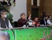 لاہور : مسلم لیگ (ن) کے صدر شہباز شریف ماڈل ٹاؤن سیکرٹریٹ میں پریس کانفرنس ..