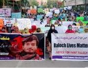 کراچی، پریس کلب کے سامنے بلوچ اسٹوڈنٹس آرگنائزیشن کے طلبہ مطالبات ..