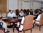 لاہور : وفاقی وزرتعلیم شفقت محمود علماء مدارس سے ملاقات کررہے ہیں۔