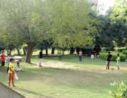 لاہور کے علامہ اقبال ٹاؤن کے منی پارک میں کرکٹ کھیل رہے ہیں۔