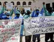 حیدر آباد : سول ہسپتال حیدر آبا دو جامشورو کے پیرا میڈیکل ملازمین 22ماہ ..