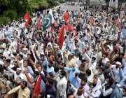 لاہور:واپڈا ہائیڈرو الیکٹرک لیبر یونین کے زیراہتمام اپنے مطالبات کے ..