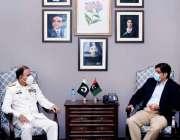 کراچی، وزیراعلی سندھ مراد علی شاہ سے چیف آف نیول سٹاف ایڈمرل ایم امجد ..