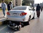 راولپنڈی: صدر کے علاقے میں تیز رفتاری کے باعث حادثے کا شکار ہونیوالی ..