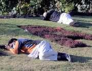 راولپنڈی، شہری لیاقت باغ میں آرام کر رہے ہیں۔