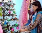 حیدرآباد، مسیحی برادری کے تہوار کرسمس کے موقع پر ایک لڑکی کرسمس ٹری ..
