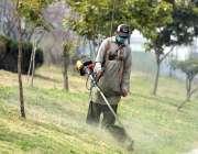 راولپنڈی: ائیرپورٹ روڈ پر گرین بیلٹ میں پی ایچ اے کا کارکن گھاس کاٹ ..
