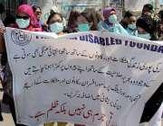 کراچی، پریس کلب کے باہر سفید چھڑی کے عالمی دن کے موقع پر نابینا افراد ..