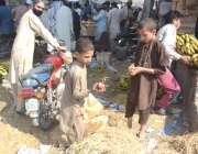 لاہور : فروٹ منڈی میں خانہ بدوش بچے کوڑے کے ڈھیرے سے پھل اکٹھے کر رہے ..