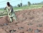 فیصل آباد: مقامی اینٹوں کے بھٹے پر کام کرنے میں مصروف ایک کارکن۔