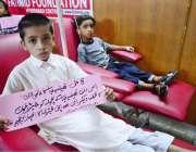 حیدرآباد: تھیلیسیمیا کے مریضوں کے بچے خون کے عطیہ کے لئے مددگار پلے ..