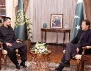 اسلام آباد، وزیراعظم عمران خان سے حمزہ علی عباسی ملاقات کر رہے ہیں۔