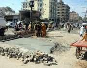 راولپنڈی: کمیٹی چوک میں مرمت کا کام جاری ہے جس کی وجہ سے شدید ٹریفک جام ..
