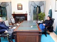 ISLAMABAD:Chief Minister Khyber Pakhtunkhwa Mehmood Khan called on Prime Minister Imran Khan.