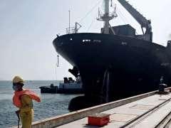 "Gwadar : First bulk-cargo ship ""MV Manet"" carrying wheat and urea of Afghan Transit trade reached Gwadar this week."