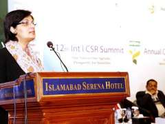 ISLAMABAD:Special Assistant to the Prime Minister on Poverty Alleviation and Social Safety, Dr. Sania Nishtar addressing the 12th CSR Summit.