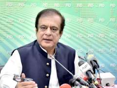 Islamabad: Senator Shibli Faraz, Federal Minister for Information and Broadcasting addressing a press conference.