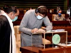 Karachi: CM Syed Murad Ali Shah, under Article 123 of the Constitution, authenticates grants made by the Provincial Assembly for the year 2020-21 by signing documents.