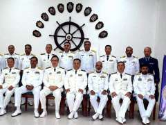 KARACHI:Vice Admiral Dong Jan, Deputy Commander Southern Command PLA along with Vice Admiral Asif Khaliq, COMOAK Commander Pakistan Fleet in a group photo during closing ceremony of the Exercise Sea Guardian 2020.