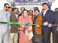 ISLAMABAD:Special Assistant to the Prime Minister on Information and Broadcasting Dr. Firdous Ashiq Awan cutting the ribbon to inaugurate Smart Expo of Future Development at Pak-China Friendship Center.