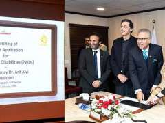 ISLAMABAD:President Dr. Arif Alvi launching mobile application for persons with disabilities at Pakistan Bait-ul-Mal.