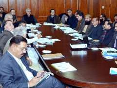 ISLAMABAD:Federal Minister for National Food Security & Research Makhdoom Khusro Bakhtiar chairing a meeting to review the progress of PSDP/ADP projects under PM's Agriculture Emergency Programme.