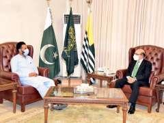 Muzaffarabad: Mr. Mehran Maroof, Acting President, Islami Jamiat Tulba meeting with President AJK, Sardar Masood Khan.
